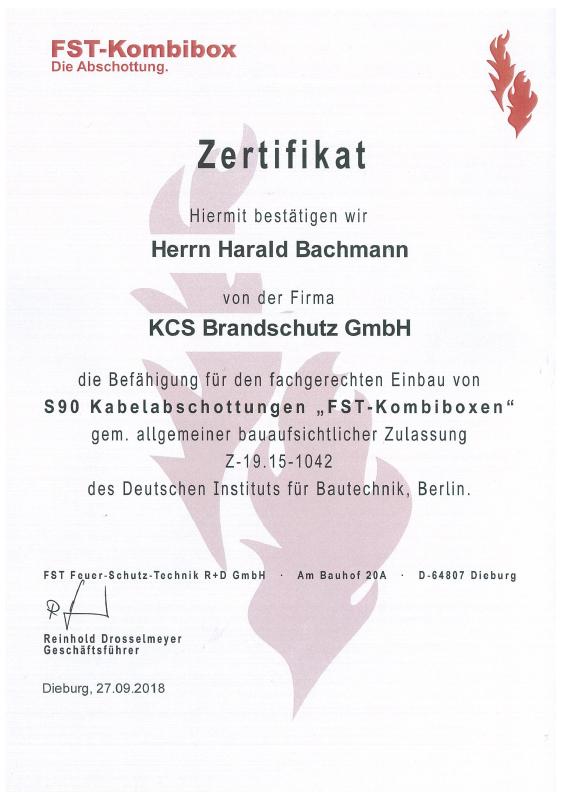Zertifikat FST-Kombibox